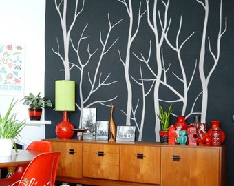 Set of Large Winter Tree vinyl decals , wall mural -NT034