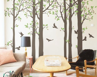 Large Forest Tree with Birds Vinyl Wall Decal - NT006
