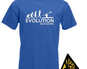 Evolution Of Man From Ape To Kayaking T-Shirt Joke Funny Kayaker