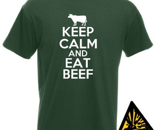 Keep Calm And Eat Beef T-Shirt Joke Funny Tshirt Tee Shirt Gift Farm Farmer