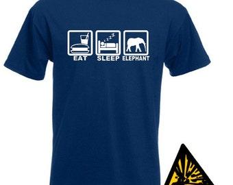 Eat Sleep Elephant T-Shirt Joke Funny Tshirt Tee Shirt