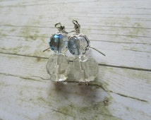 Gray and Crystal Bridal Earrings, Gray Crystal Earrings, Clear Crystal Earrings, Earrings, Bridal Earrings, Birthday Gifts Women, Gifts