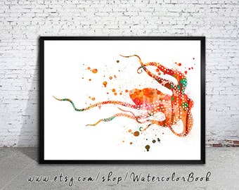 Octopus 4 Watercolor Print, watercolor painting, watercolor art, Illustration,  home decor wall art, Octopus art, watercolor animal,
