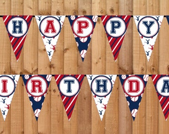 Baseball Happy Birthday Banner- INSTANT DOWNLOAD - Printable Party Decorations