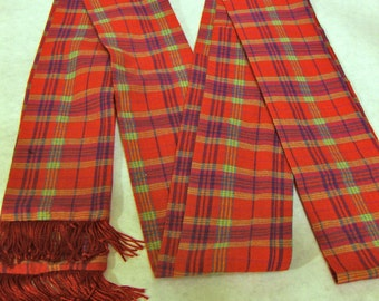 Red, Blue, Yellow Plaid Cotton Sash w/Red Fringe for Pirate, Ren Faire