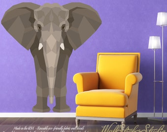 Elephant Wall Decal. REUSABLE FABRIC Wall Decals, Pattern Wall Decal, Peel and Stick Wall Decals, Eco-friendly, 704