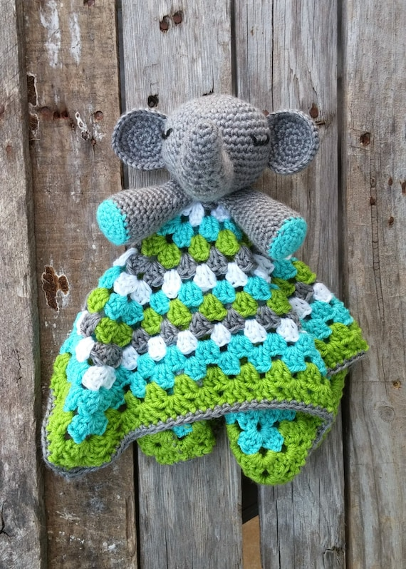 Custom Stuffed Elephant Lovey Toy Crochet Blanket Mini Blanket - photo#28
