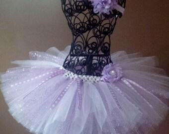 Glitter lavanda lavanda & tutú blanco con cintas, Sophia el primer, tulle, tutú del cumpleaños, recién tutú, tutú del bebé, bailarina, bebé niña Tutu,