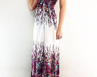 Women Maxi Dress Gypsy Dress Boho Dress Hippie Dress Summer Beach Dress Long Dress Party Dress Clothing Flower Printed Cream (DL8)