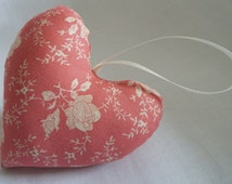 pink vintage style fabric heart with cream ribbon