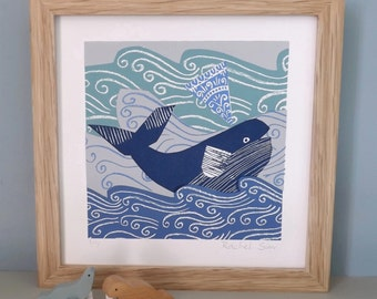 Blue and Grey Whale Screen Print
