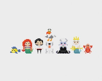 Disney Princess Minis: The Little Mermaid Cross Stitch Pattern PDF Instant Download