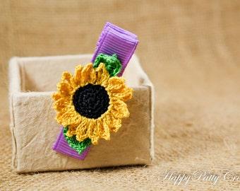 Sunflower Hair Clip - Crochet Flower Hair Accessory - Alligator Clip - Girl Hair Clip - Toddler Hair Clip - HC078