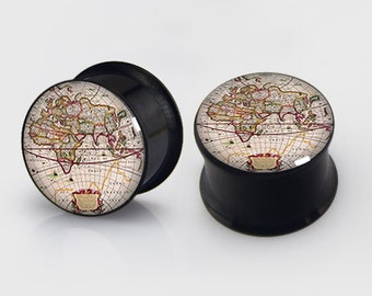 World Map  Plugs,-Pairs Titanium Anodized Double Flare Ear Plugs Tunnels Earlets Gauges
