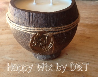 Authentic Coconut Soy Wax Candles, great gift, beach wedding candles.