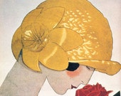 Yellow hat, red rose - reproduction of vintage fashion print by Andre Marty