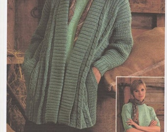 Double Knitting Ladies Jacket Pattern : Popular items for aran on Etsy