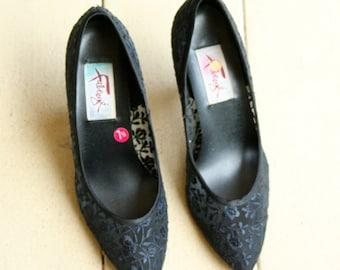 1980's Vintage Fabergé Black Lace Heels