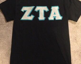 Zeta tau alpha sewn greek letter t shirt for Cute greek letter shirts