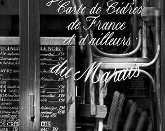 Paris black and white photography, Paris cafe window, Paris photography, black and white photo, Paris Marais, Paris decor, fine art print