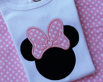 Minnie Mouse classic applique tee for infant, toddler, girls & adults. Disney Minnie Mouse T shirt