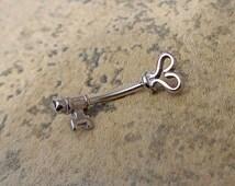 Rook Earring 16G, Key Eyebrow Naval Cartilage Helix Ear Cuff Conch Snug Rook, 316L Surgical Steel Piercing Body Jewelry