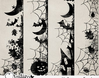 Halloween Borders - Digital Scrapbook Border Overlays - Personal and Commercial Use, D045 - Instant Download