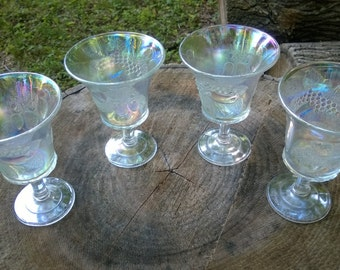 REDUCED!!  Joe St Clair Carnival Glass Goblets, set of 4, Clear with Grapes & Strawberries
