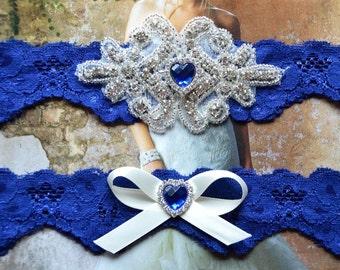 Wedding Garter, Royal Blue Garter Set, Bridal Garter, Floral Lace Garter,Something Blue Garter, Crystal Rhinestone Garter- Victoria Style 55