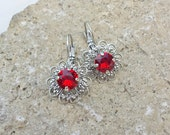 Red Siam Filigree Earrings ~ 8.5 mm Swarovski Crystal Elements Solitaire Earrings ~ Antique Silver Earrings ~ Crystal Earrings