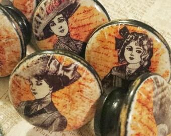 ON SALE Distressed Knobs Drawer Pull Set, 6 Handmade Vintage Old Fashion Ladies knob Decor, Dresser Knob Pulls, Victorian, We Make Customize