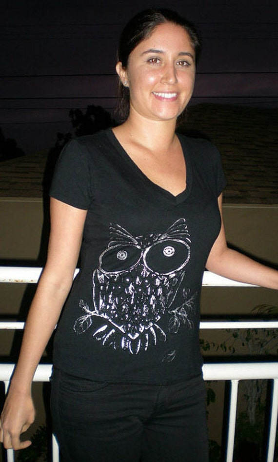 Silver Owl T Shirt Embossed Form Fitting V Neck