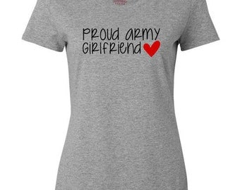 Proud Army Girlfriend Tshirt - Cotton Short Sleeved Shirt - Milso - Hooah