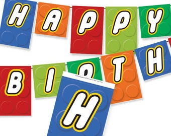 Building Block - Happy Birthday Banner / Sign / Pennant / Printable Party Banner / DIY