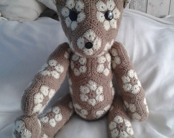 Handmade, crochet toys Teddy Bear, African Flower, Amigurumi