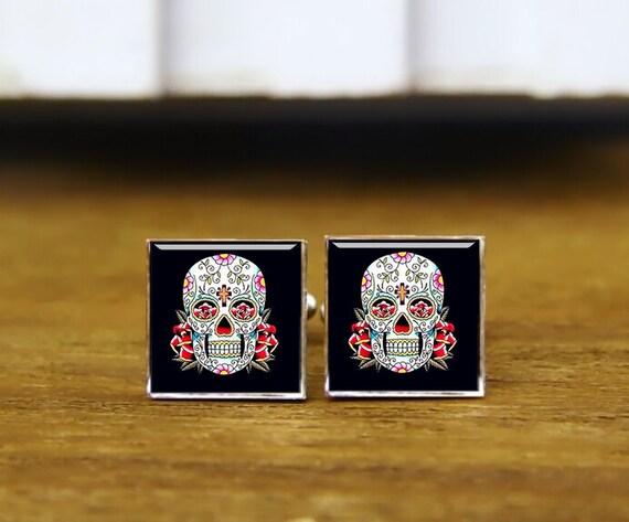 Custom Wedding Square Cufflinks, Sugar Skull Cufflinks & Tie Clip, Mexico Skull Cuff Links, Day Of The Dead Cuff Links, Wedding Cuff Links
