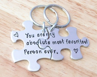 Hand Stamped Couples Puzzle Piece Keychain Set - Hand Stamped Jewelry