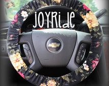 Steering Wheel Cover Black Floral - Cute Car Accessorries Floral Heated Gift for Girls Seat Belt Cover Keychain Christmas Favorite Rose