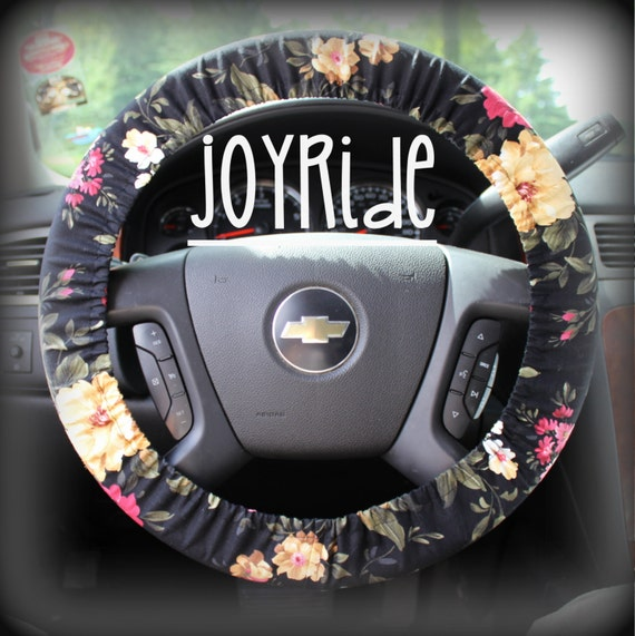 Steering Wheel Cover Black Floral Cute Car By JoyRideCovers