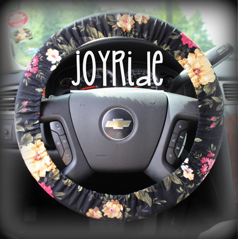 Steering Wheel Cover Black Floral Cute Car by JoyRideCovers