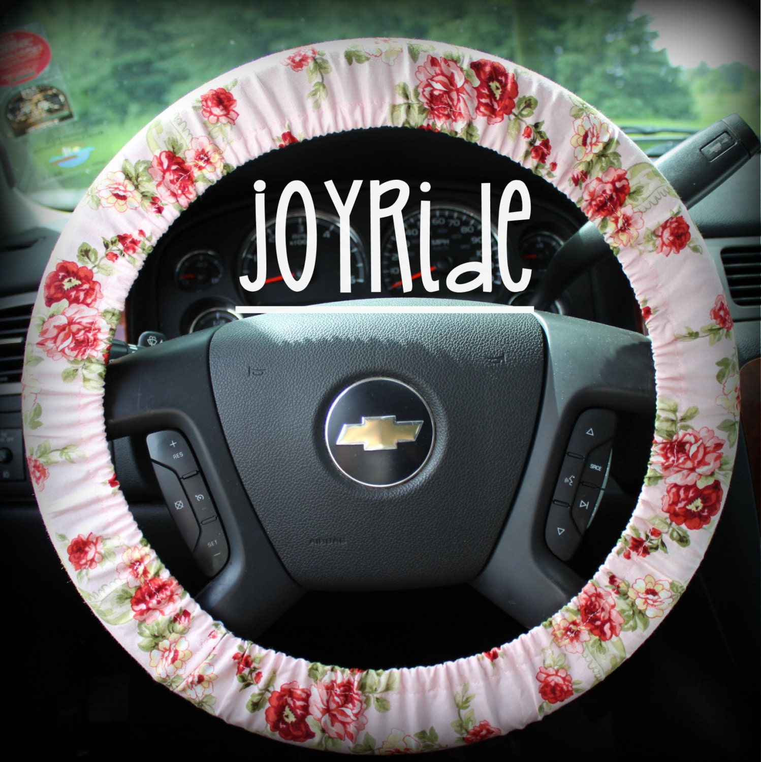 steering wheel cover burgundy rose and pink flowers