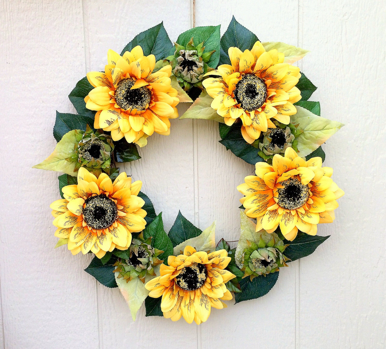 Items similar to summer sunflower front door grapevine wreath outdoor summer wreaths for door
