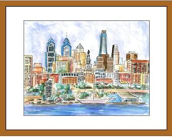 Philadelphia Skyline.  Matted print of original painting.  White archival mat.
