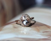 1.7ct 7*9mm Morganite Ring Halo Diamond Ring 14k Rose Gold Ring Wedding Ring Engagement Ring Gemstone Engagement Ring