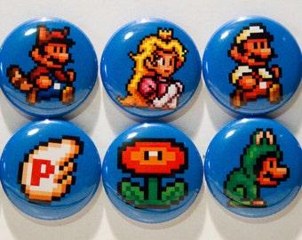 "Set of 10 Super Mario Bros. 3, 1"" Pinback Buttons"