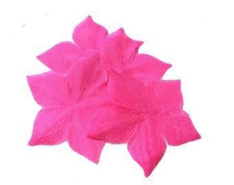 5 Flowers fuchsia pink silk pongee shaped size 55 mm