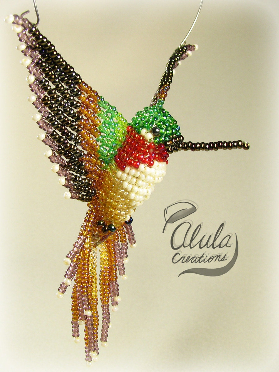 3d beaded bird suncatcher hummingbird window by alulacreations
