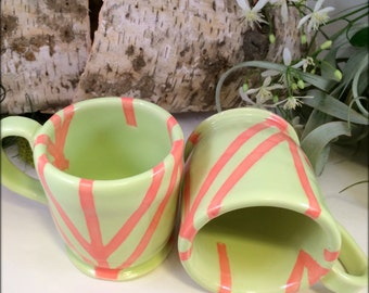 Coffee or Tea Cup. Honeydew and Coral Linear Porcelain.