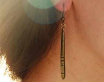 Drop earrings, simple elegant earrings, everyday earrings, bronze drop earrings, handmade geometric earrings.