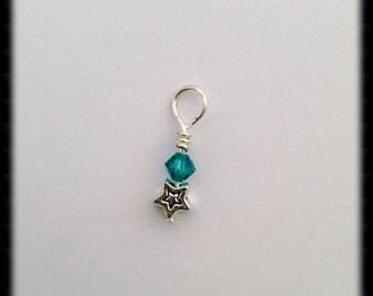 Add on Swarovski birthstone with a star or heart charm